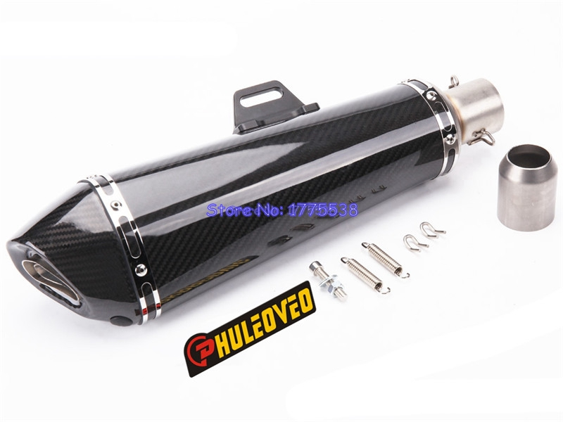 PHULEOVEO Long Model ID:51mm(2) Motorbike Carbon Fiber Exhaust Muffler Motorcycle Exhaust Muffler Pipe Escape Damper DB Killer