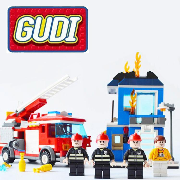 GUDI city Fire Rescue firefighting airplane truck/Helicopter Building Blocks Educational Toys Model Brinquedos Birthday Gift kazi fire department station fire truck helicopter building blocks toy bricks model brinquedos toys for kids 6 ages 774pcs 8051