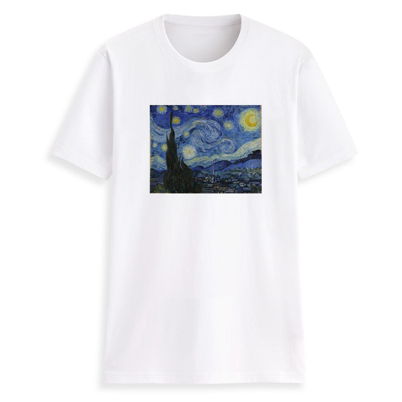 Wiron Funny Vintage Women Tshirt Tee Cotton Short Sleeve Vogue Van Gogh Starry Sky Tops Harajuku Summer Tumblr T shirt Women