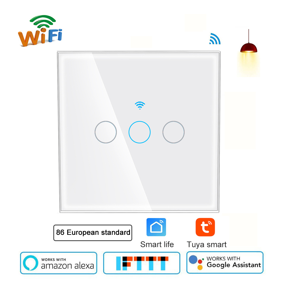 Interrupteur de lumière WiFi 10A interrupteur tactile mural 3 voies EU interrupteur de minuterie de contrôle intelligent Compatible Alexa Google IFTTT App Tuya