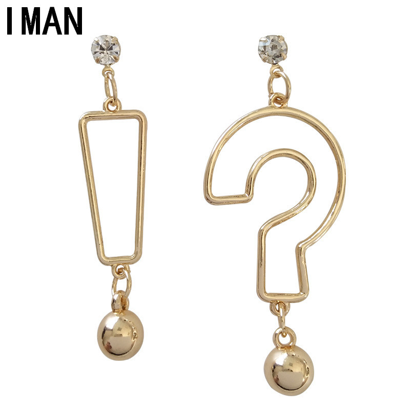 Korea is contracted 100 build funny symbol ear nail metal sense hip-hop personality question mark exclamation point earring