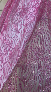 fashion french net fabric with glued glitter SYJ-122719 for wedding dress