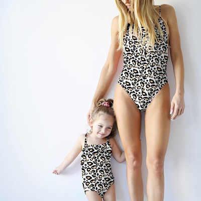 a2b028ea26 ... Drop ship 2019 Family Matching Leopard Bikini Women Girls Momther  Daughter Baby Swimsuit Monokini Beach Swimwear ...