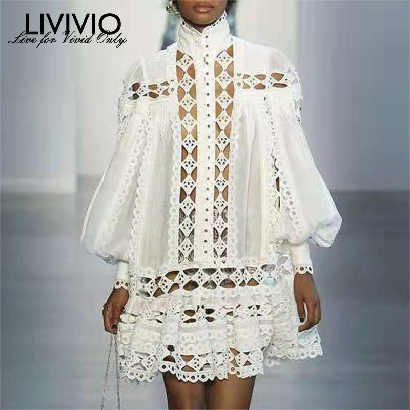 LIVIVIO Elegant Loose Lantern Long Sleeve White Black Mini Lace Shirt Dress 2019 Autumn Streetwear