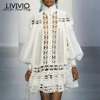 [LIVIVIO] Elegant Loose Lantern Long Sleeve White Black Mini Lace Shirt Dress 2019 Autumn Streetwear Sheer Two Piece Set Fashion - DISCOUNT ITEM  45% OFF All Category
