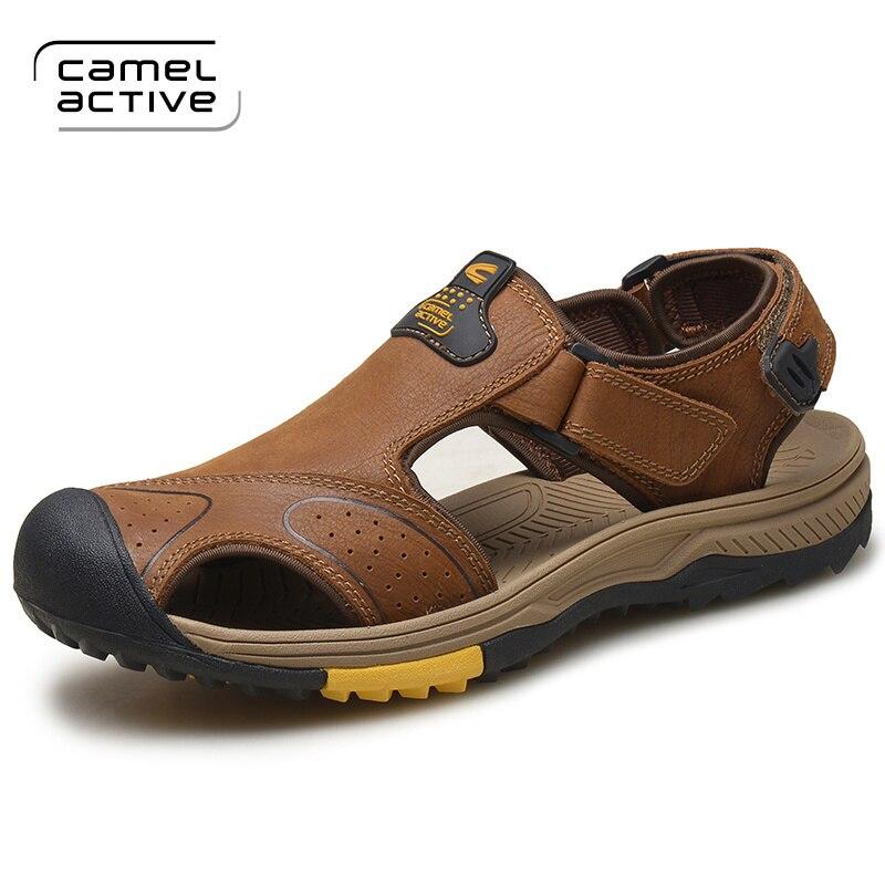 Camel Active Pria Sandal Sandal Kulit Sapi Asli Laki laki Musim Panas  Pantai Sepatu Sandal Luar 9b8afabc47