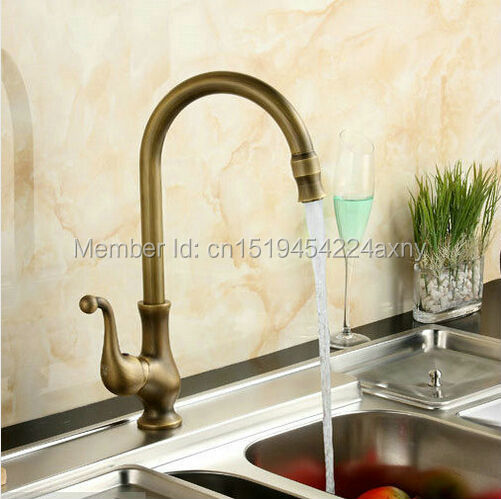 Free Shipping Antique Brass Retro Swivel Vanity classic  Kitchen Bathroom Basin Sink hot&cold Water Mixer Tap Faucet GI28 brand new free shipping antique brass tap antique kitchen faucet