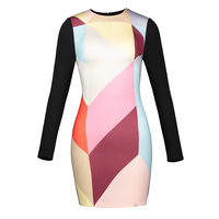 Sisjuly Women Short Bodycon Dresses 2018 Spring Autumn Geometric Color Block O Neck Long Sleeve Zipper