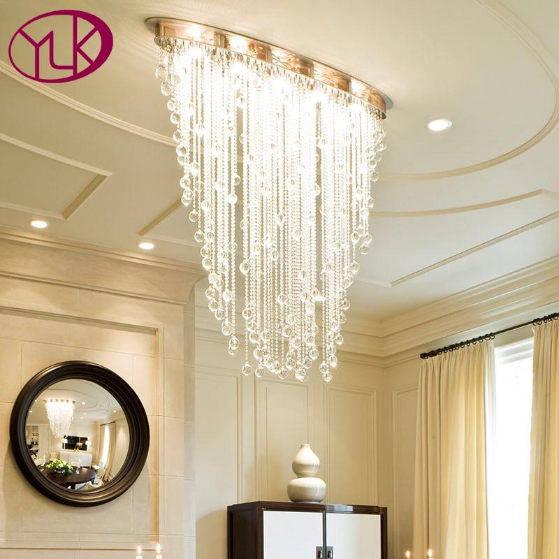 Youlaike Modern Chandelier Lighting Oval Design Dining Living Room Crystal Light Luxury Flush Mount LED Cristal