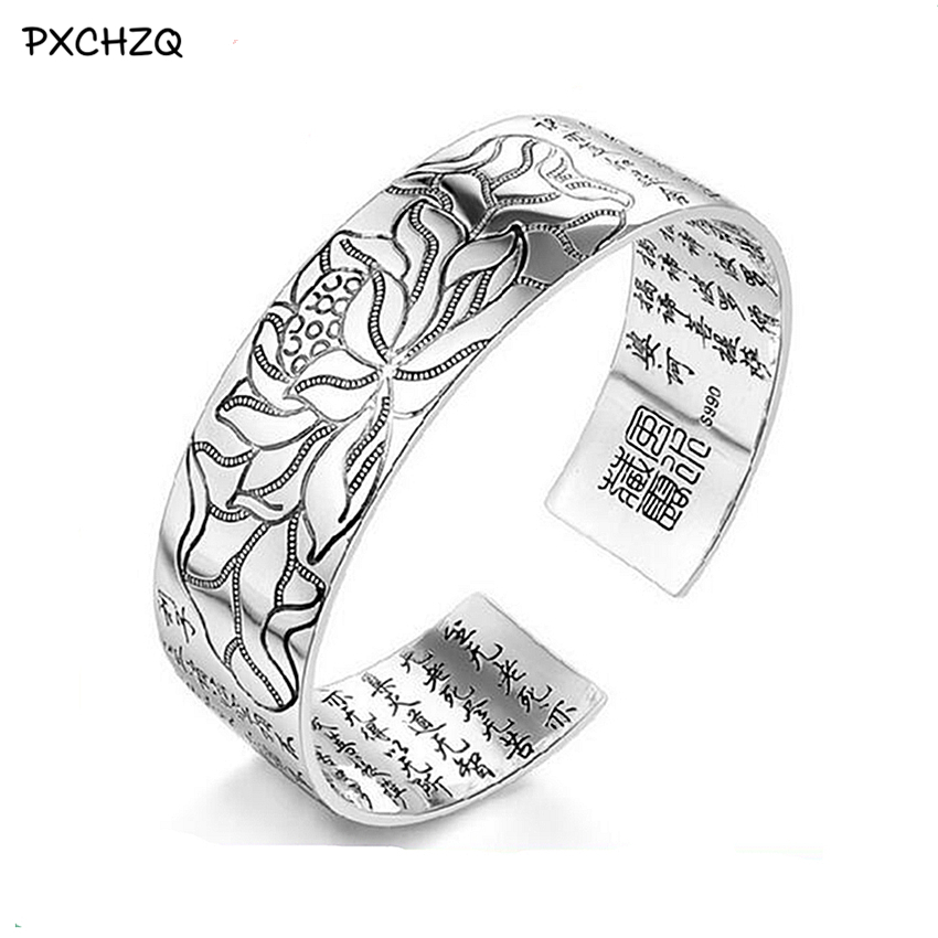 Lotus Sutra 990 argent Couleur bracelet Tibétain Bouddhiste écritures langue femelle main bijoux en gros bracelet