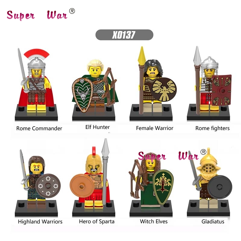80pcs Gladiatus Medieval Knights Rome Commander Elf Hunter Highland Warrior building blocks bricks games kid children toys