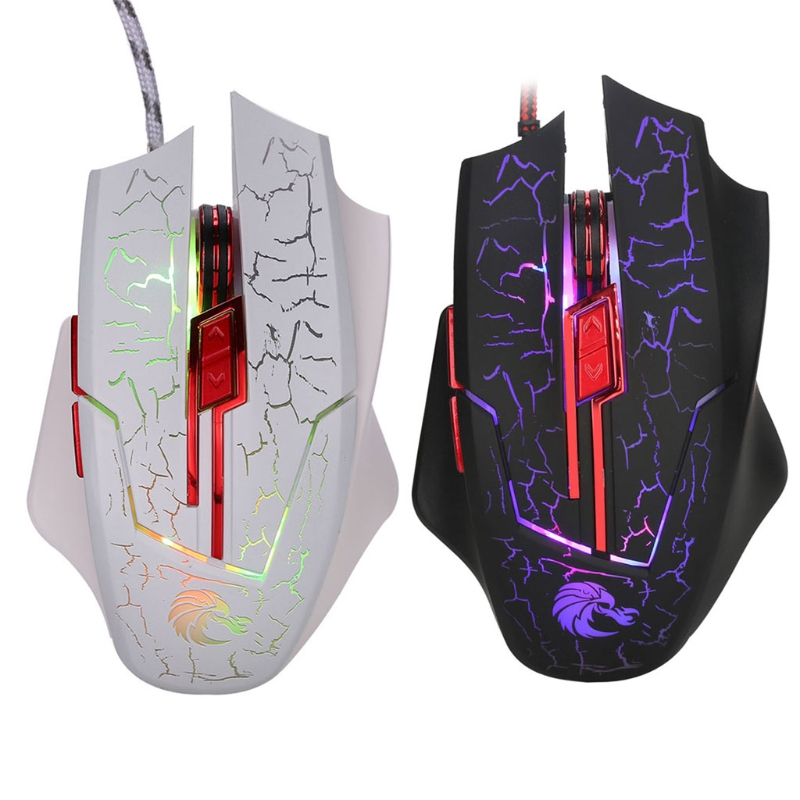 H800 5500 DPI 6 Buttons Colorful LED Light USB Wired Optical PC Gaming Mouse Professional