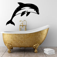 Hot Sale Self Adhesive Printing Black Diving Dolphin Wall Sticker Bathroom Home Decor Art Vinyl Decal