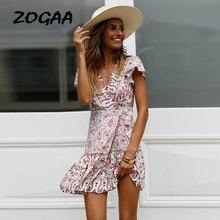 ZOGAA Bohemian Floral Print Women Summer Dress V Neck Ruffle Bandage Female New Elegant Holiday Beach Sundress