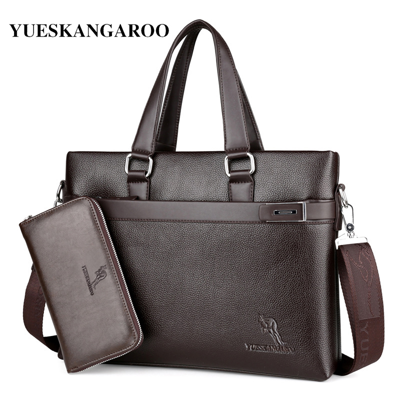 YUES KANGAROO 2017 New Brand Leather Man Business Briefcase Handbag Casual Crossbody Shoulder Bag Laptop Travel Messenger Bag