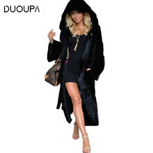 DUOUPA Faux Fur Coat Fuffy Jacket Winter Casual Long Sleeve Women Fur Coat Warm Thick Hooded Fake Fur Coat Manteau Femme Hiver цены онлайн