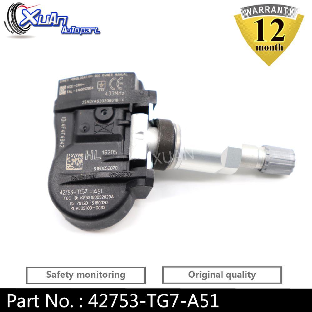 Otomobiller ve Motosikletler'ten Lastik Basınç Alarmı'de XUAN 1 adet TPMS Lastik Basıncı Monitör Sensörü 42753 TG7 A51 Honda Pilot RIDGELINE ACURA NSX 3.5L 2016 2019 433MHZ title=