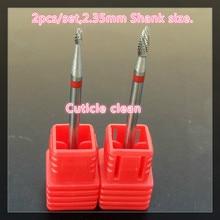 High quality 2 PCS Carbide Nail drill bit Cuticle Clean Nail tools Free Shipping