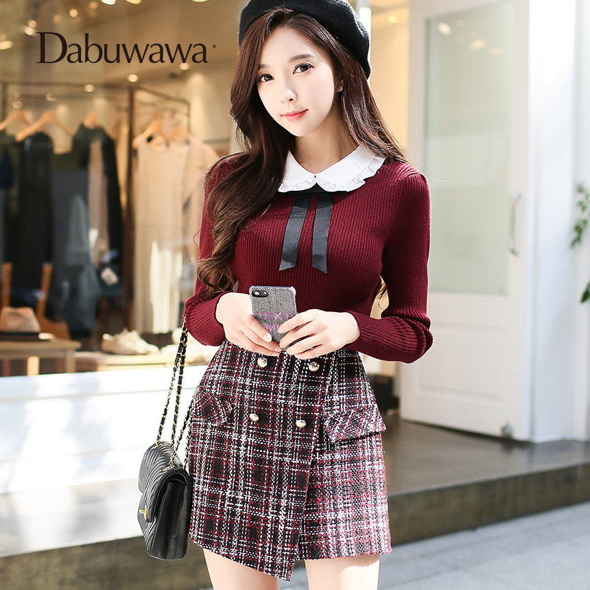 Dabuwawa Wine Red   Short   Women Plaid Vintage Wool Skirt   Shorts   For Winter Ladies Plaid   Shorts