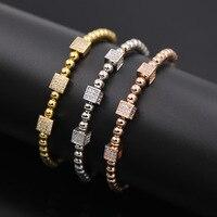 2017 gioielli di moda intarsiato di rame micro perline belle mosaico tipo C completa pietra dadi mezza oro amore bracciali e braccialetti per le donne