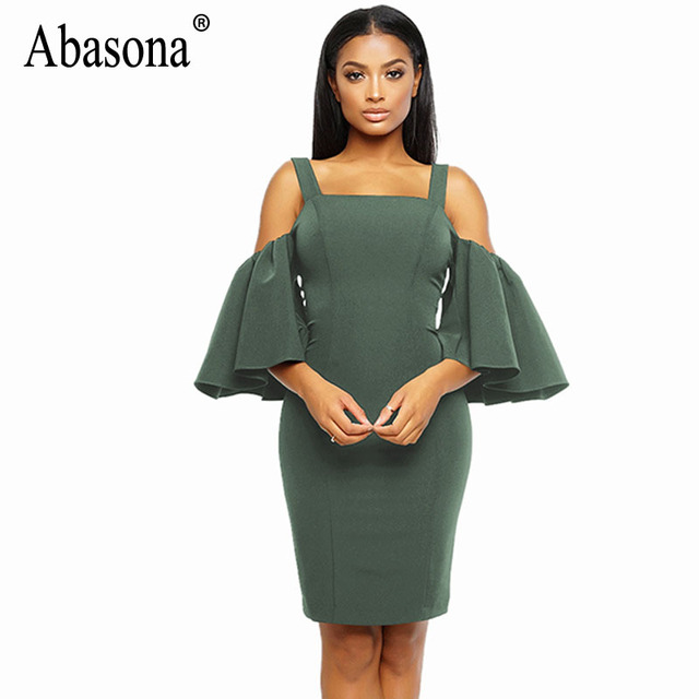 Abasona Women Cold Shoulder Dress Black Red Blue Evening Party Pencil  Dresses Sexy Club Ruffled Spaghetti Strap Women Dress 71646fbc851e