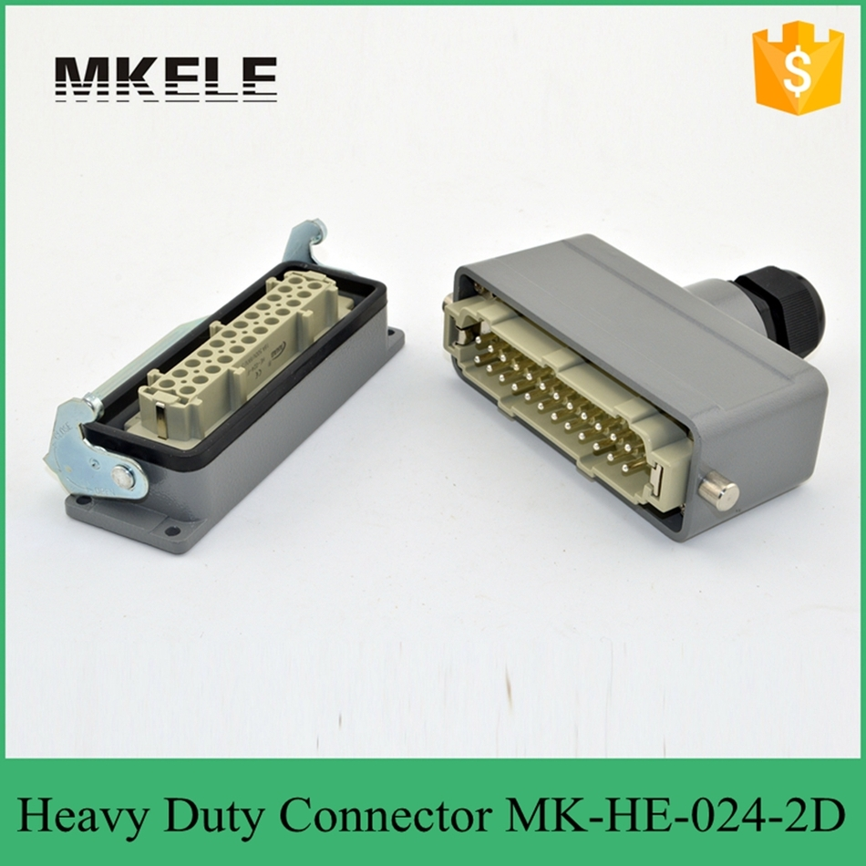24PIN 16A 400V Rectangular Plug Connector 4 Core Air  Bnc Wire Electrical For Injection Molding Machine MK-HE-024-2D heavy duty connectors hdc he 024 1 f m 24pin industrial rectangular aviation connector plug 16a 500v