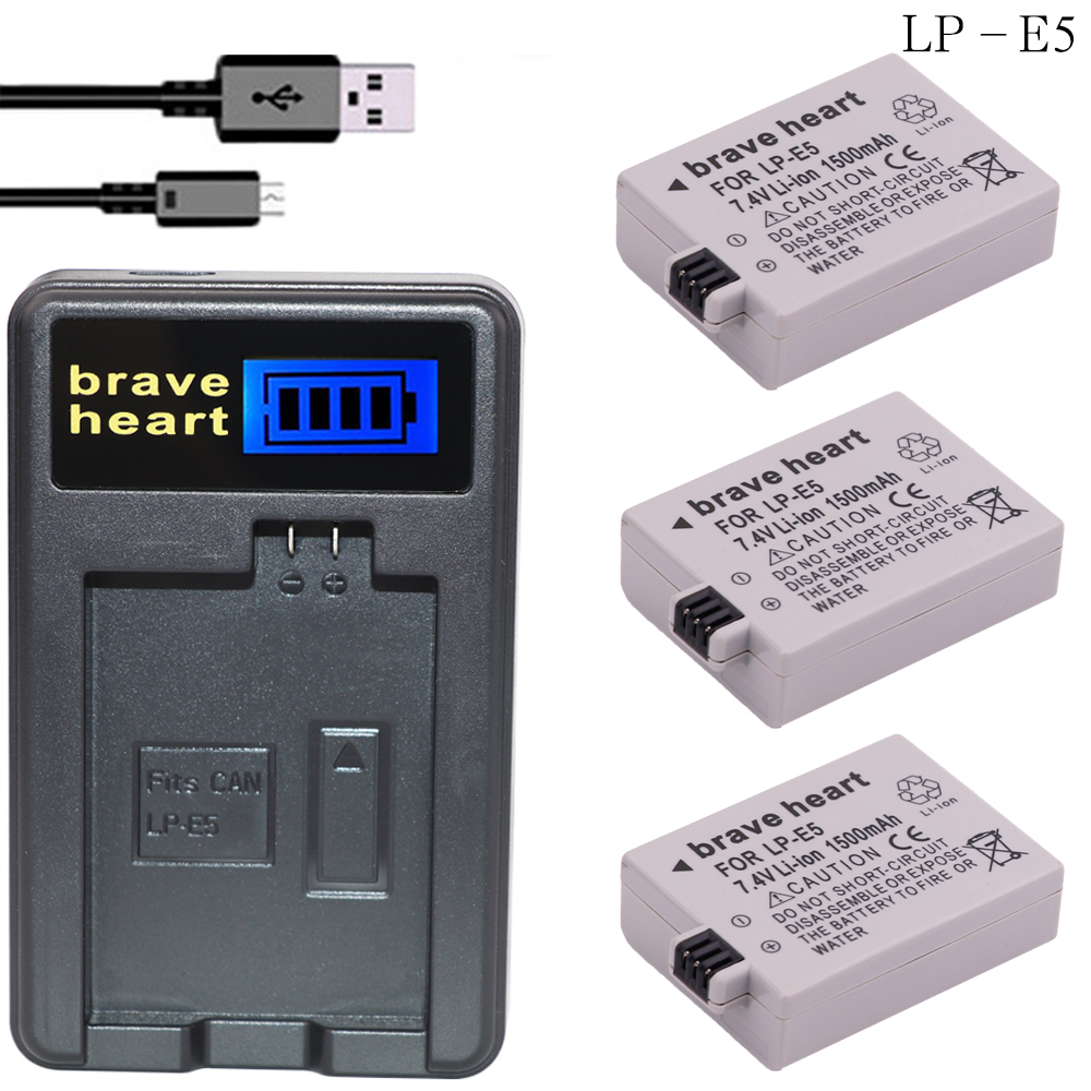 For Canon Eos 450d 500d 1000d Camera Battery Lp-e5 Charger Accessories & Parts
