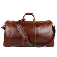 2018 Men Travel Bags Multifunction Men 100% Genuine Leather Travel Bag Big Capacity Shoulder Handbag Male Travel big bags