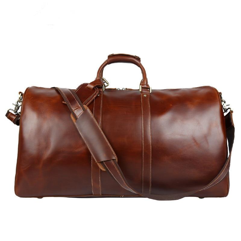 Bolsas de Viagem Bolsa de Viagem Bolsa de Ombro Homens Multifunções Couro Genuíno Grande Capacidade Bolsa Masculina Bags 2020 Men 100%