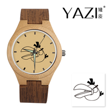 YAZI DIY Wooden Watch Angry Quartz Watch Bamboo Case Band