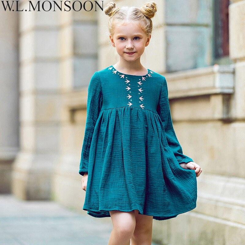 W. l. monsoon/Детские платья для Штаны для девочек с рождественским изображением 2017, Брендовое платье принцесса осень Вышивка Платье для маленьк...