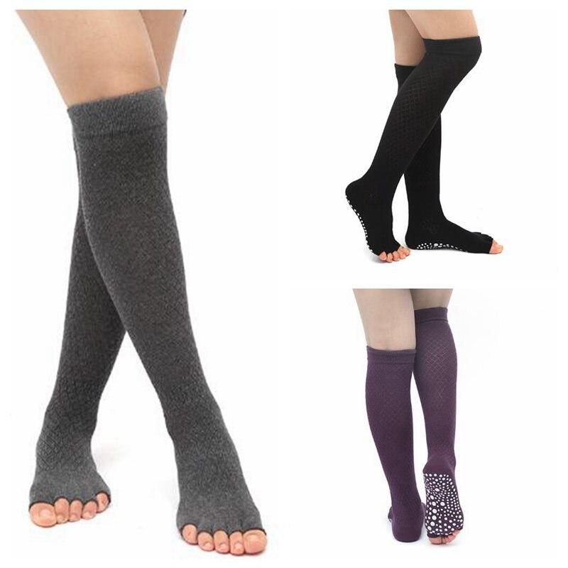 1 Pair Women Autumn Winter Non-slip Socks Over Knee Jacquard Long Socks Knitted Leg Warmer Fitness Dance Socks AAA0218