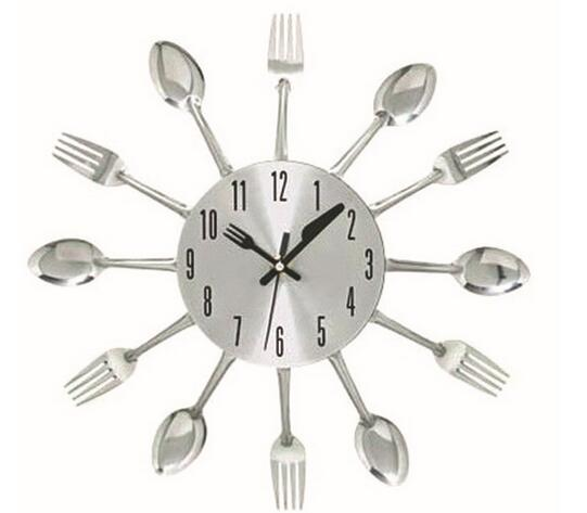 Uniquebella Metal Kitchen Cutlery Utensil Wall Clock Spoon: Colorful Design Metal Kitchen Cutlery Utensil Wall Clock