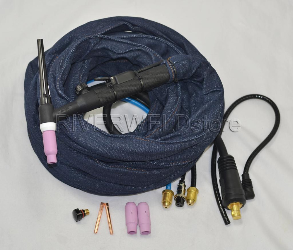 WP-18FV-25 Water Cooled 350Amp TIG Torch Complete With Flexible & Gas Valve Head swivel head tig torch complete wp 18 wp 18 water cooled 8m 25feet dinse 35 50 water and electric seperated 1pcs