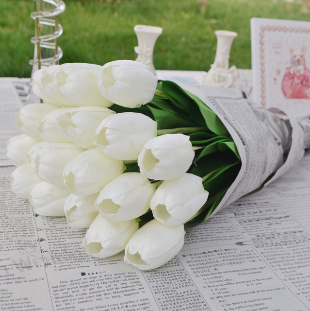 Wedding artificial white tulip flowers party home garden and desktop wedding artificial white tulip flowers party home garden and desktop decoration tulip flower for wedding centerpiece mightylinksfo