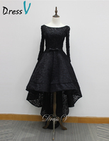Black Vintage Runway Lace Evening Dresses 2016 Long Sleeves Scoop With Belt High Low A Line