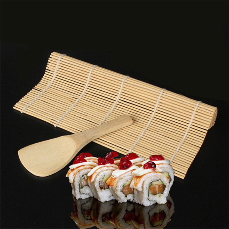 1Set Kitchen Accessories Sushi Tools Rolling Roller Bamboo Material Mat Maker DIY And A Rice Paddle Cooking Tools