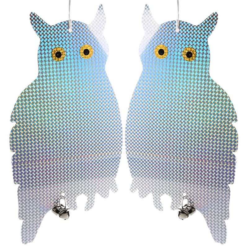2pc Owl Bird Repellent Control Scare Device Laser Reflective Fake Owl Scares Bird Pigeons Woodpecker Repellent Garden Supplies(China)