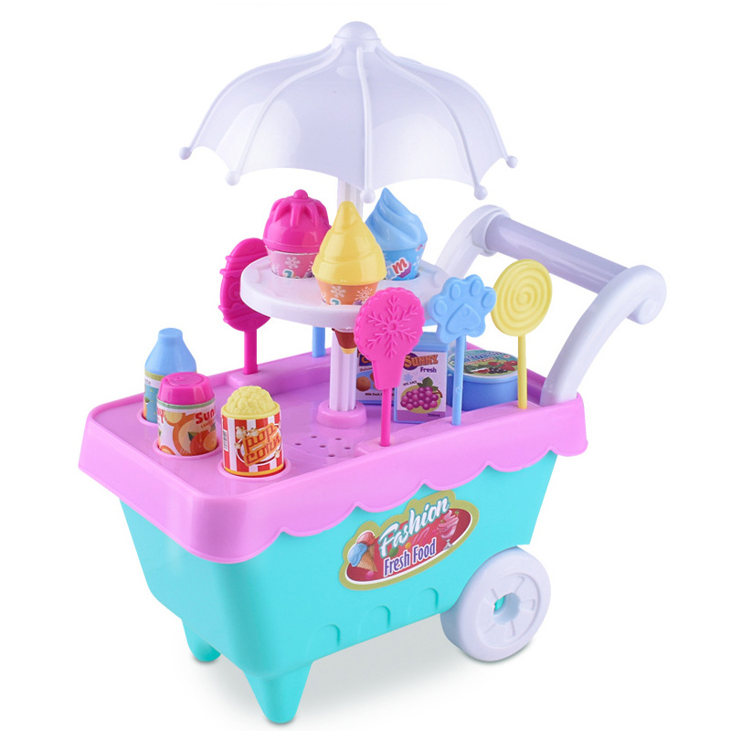 Children Role Play Toys Mini Candy Cart Detachable Ice Cream Shop Cart Toy S7JN ice cream cart toy