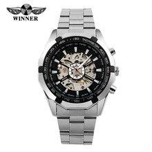 WINNER Men Watch Stainless Steel Skeleton Watches Limunous Mechanical Wristwatch Analog-digital Mens Clock Relogio Montre 2016