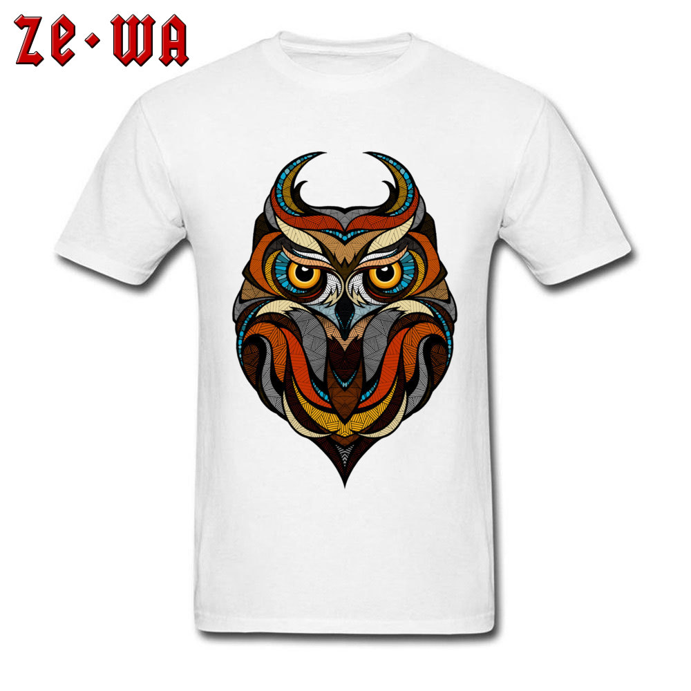 Customized Decorative Owl Mens T-Shirt 2018 Summer Short Sleeve Crewneck 100% Cotton Tops T Shirt Printing Tops T Shirt Decorative Owl  white