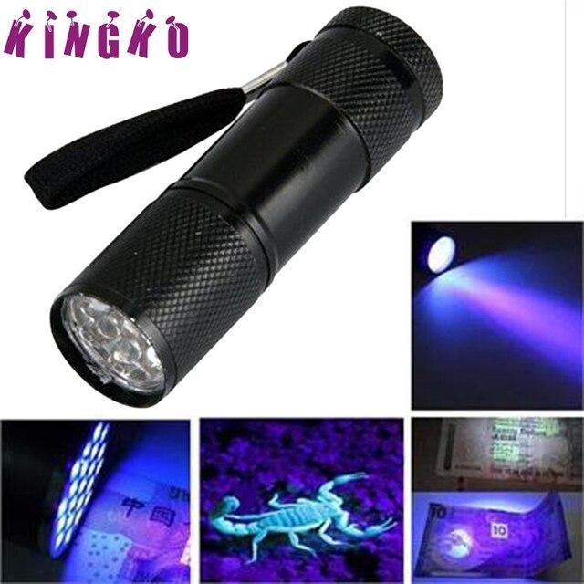 Super Mini Aluminum UV ULTRA VIOLET 9 LED FLASHLIGHT BLACKLIGHT Torch Light Lamp