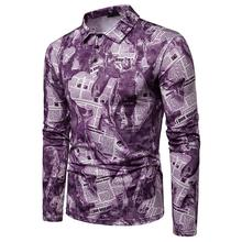 Mens Polo Shirt Newspaper print Lapel Men Long sleeves Clothing Tops Tees Purple Blue Gray
