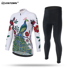 XINTOWN Sweat Long Sleeve Cycling Jersey Set MTB Bike Clothing Bicycle Jerseys Clothes Print Peacock Maillot Ropa Ciclismo