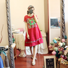 2017 new mori girl design Summer women's 2016 national trend women's embroidered embroidery fluid vintage one-piece dress