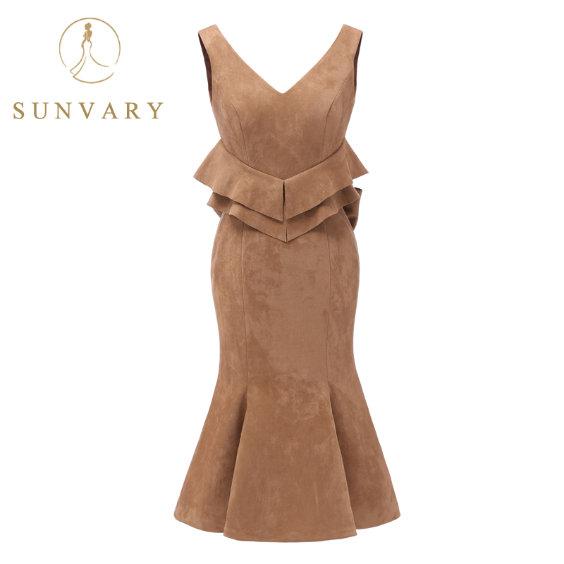 Sunvary Customized Deep V-neck Tiered Chamois Prom Dress Tea-Length Trumpet Party Gown Ruched Prom Gown Zipper Back With Bow