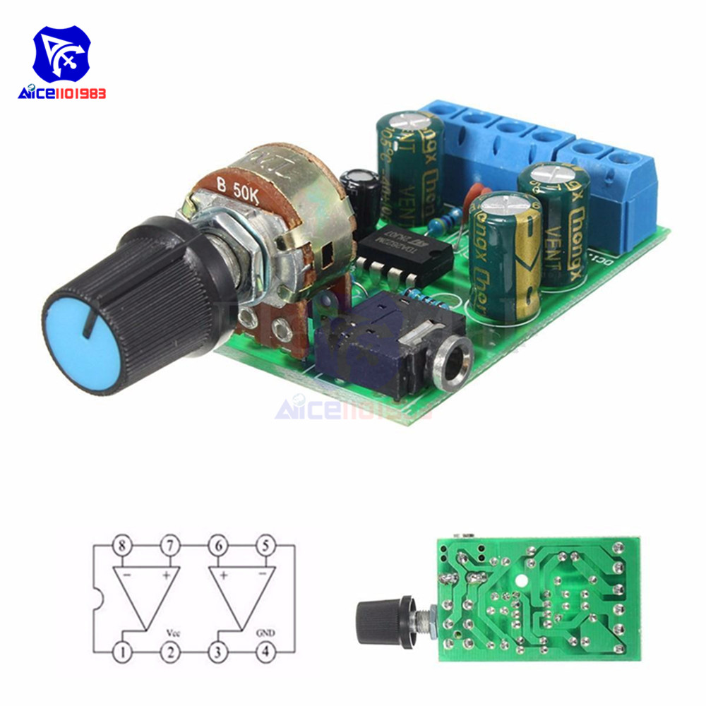 TDA2822 TDA2822M Amplifier Board DC 1.8-12V 2.0 Channel Stereo Mini AUX Audio Amplifier Module AMP with 50K Ohm Potentiometer
