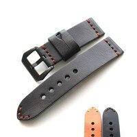 Handmade Italian calfskin Watch strap Black yellow 19mm 20mm 21mm 22mm 24mm 26mm Men's watchband belt For Panerai Fossil Watch