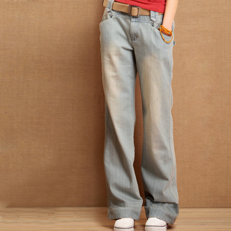 New Arrival Women Straight Wide Leg Jeans Spring And Autumn Light Color Trousers Water Wash Retro Jeans