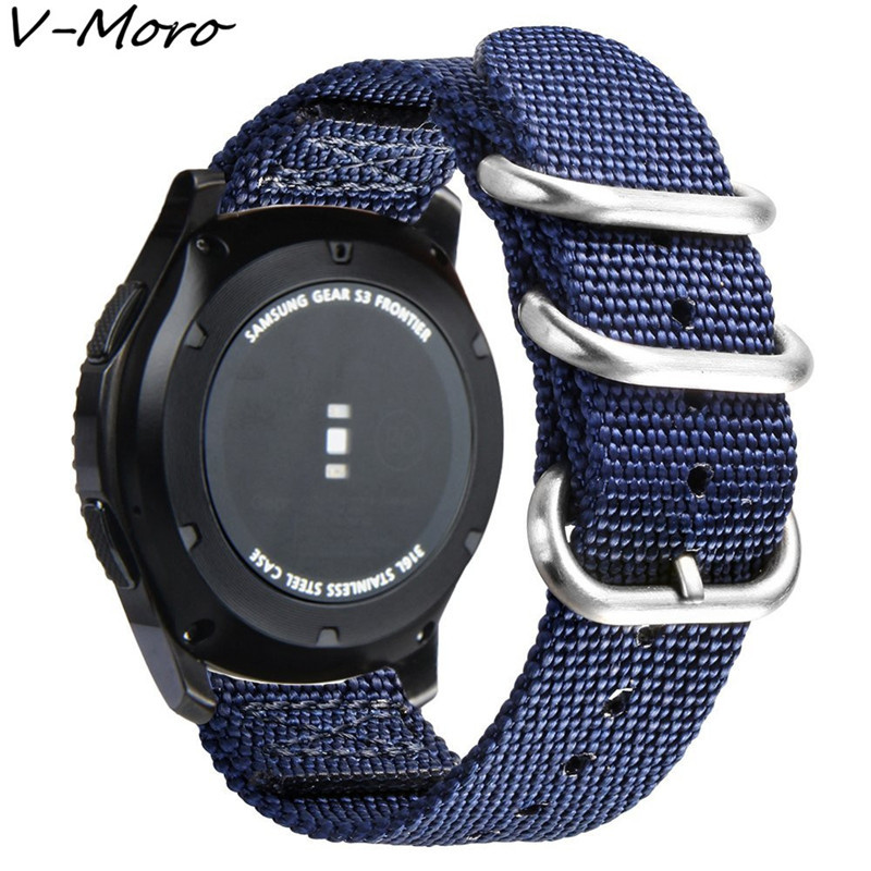 Galleria fotografica V-MORO Soft Woven Nylon Nato Strap For Samsung Gear S3 Band Replacement Band For Gear S3 Classic Frontier Smart Watch